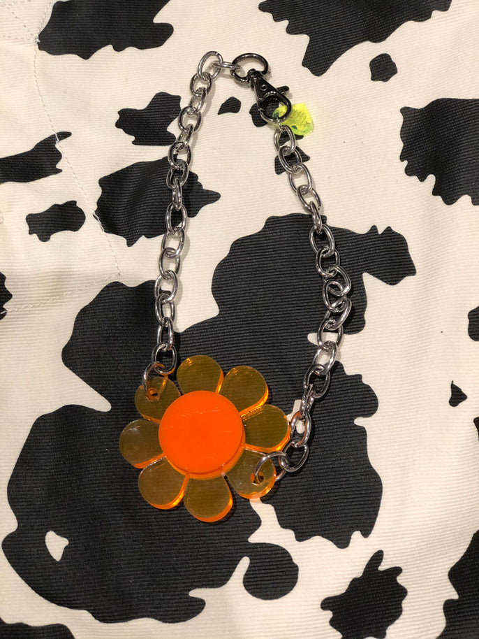 Neon Orange and White Reversible Pendant Necklace by Marina Fini | Necklaces - 80s 90s Retro Vintage Clothing | Spark Pretty