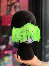 Custom Made Geometric Print with Neon Green Fringe Face Mask | Mask - 80s 90s Retro Vintage Clothing | Spark Pretty