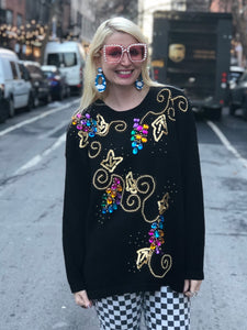 Vintage 80s Colorful Gem Beaded Sweater | Sweaters - 80s 90s Retro Vintage Clothing | Spark Pretty