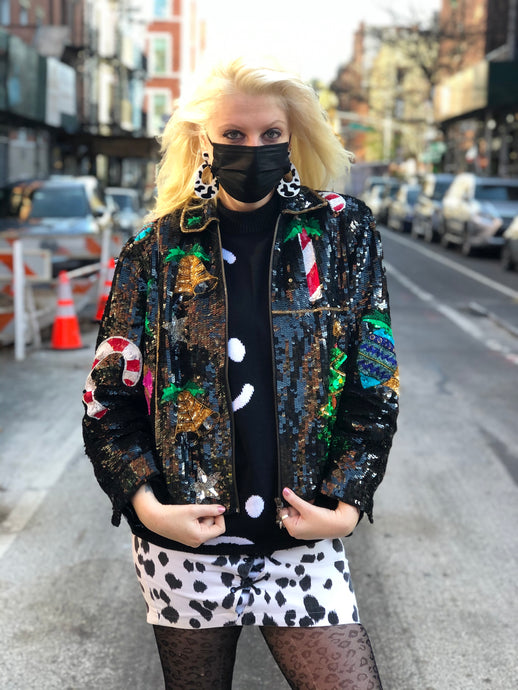 Vintage 80s Sequin Christmas Theme Jacket