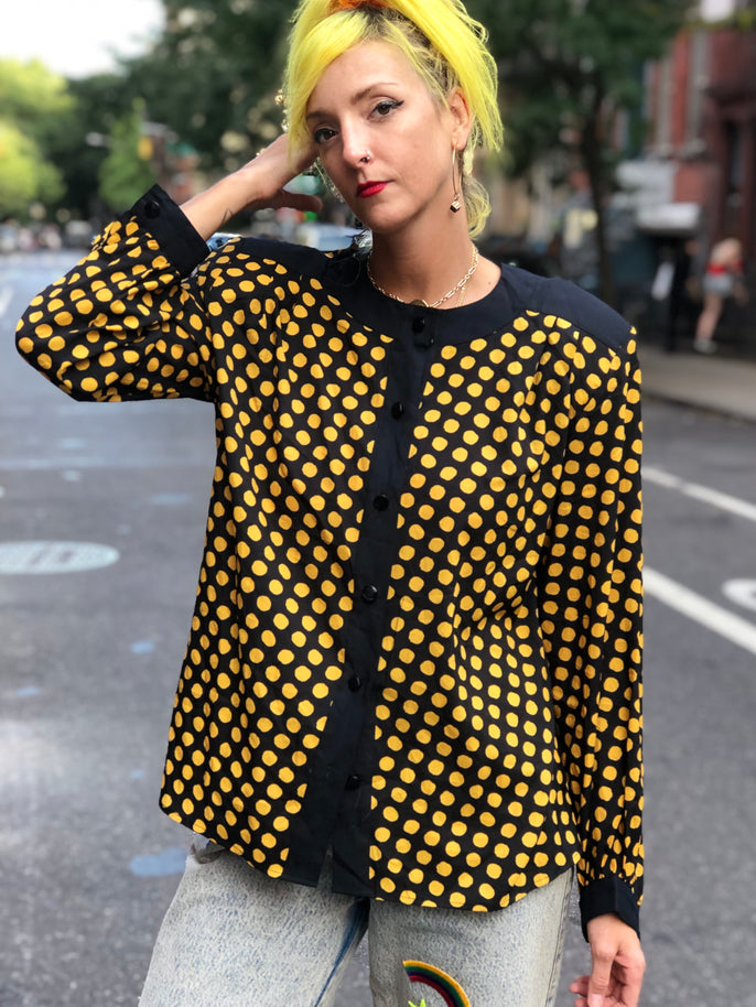 Vintage 80s Dots Blouse - Spark Pretty