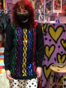 Vintage 80s Gem Stone Bedazzled Rainbow Sequin Sweater
