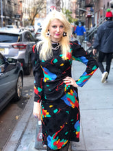 Vintage 80s Abstract Color Splotch Wrap Dress