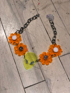 Neon Orange Flower Power with Green Alien Choker by Marina Fini | Necklaces - 80s 90s Retro Vintage Clothing | Spark Pretty