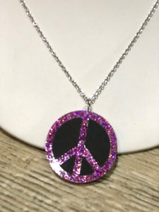Peace Sign Glitter Necklace by No Basic Bombshell