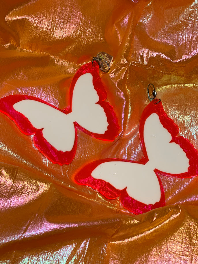 Pink and White Butterfly Earrings by Marina Fini