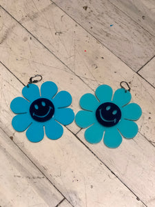 Flower Power Blue Happy Face Earrings by Marina Fini | Earrings - 80s 90s Retro Vintage Clothing | Spark Pretty