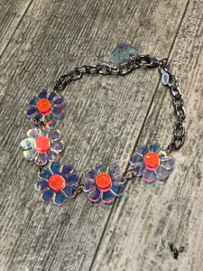 Holo and Neon Orange Flower Choker by Marina Fini | Necklaces - 80s 90s Retro Vintage Clothing | Spark Pretty