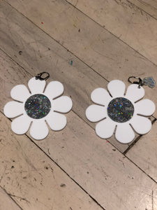 White with Glitter Flower Power Earrings by Marina Fini | Earrings - 80s 90s Retro Vintage Clothing | Spark Pretty