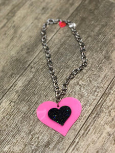Pink and Black Heart Necklace by Marina Fini | Necklaces - 80s 90s Retro Vintage Clothing | Spark Pretty