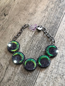 Black Glitter Green Moon Choker by Marina Fini | Necklaces - 80s 90s Retro Vintage Clothing | Spark Pretty