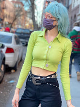 Lime Ribbed Crop Top by Motel