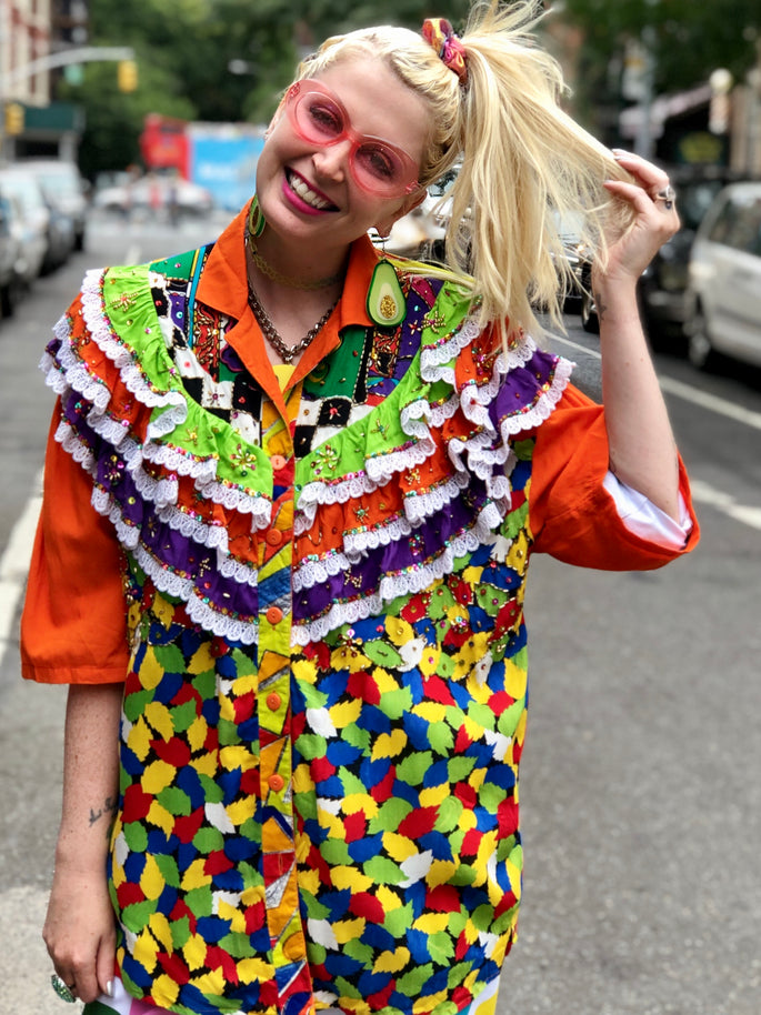 Vintage 80s Colorful Ruffle Sequin shirt | Shirt - 80s 90s Retro Vintage Clothing | Spark Pretty