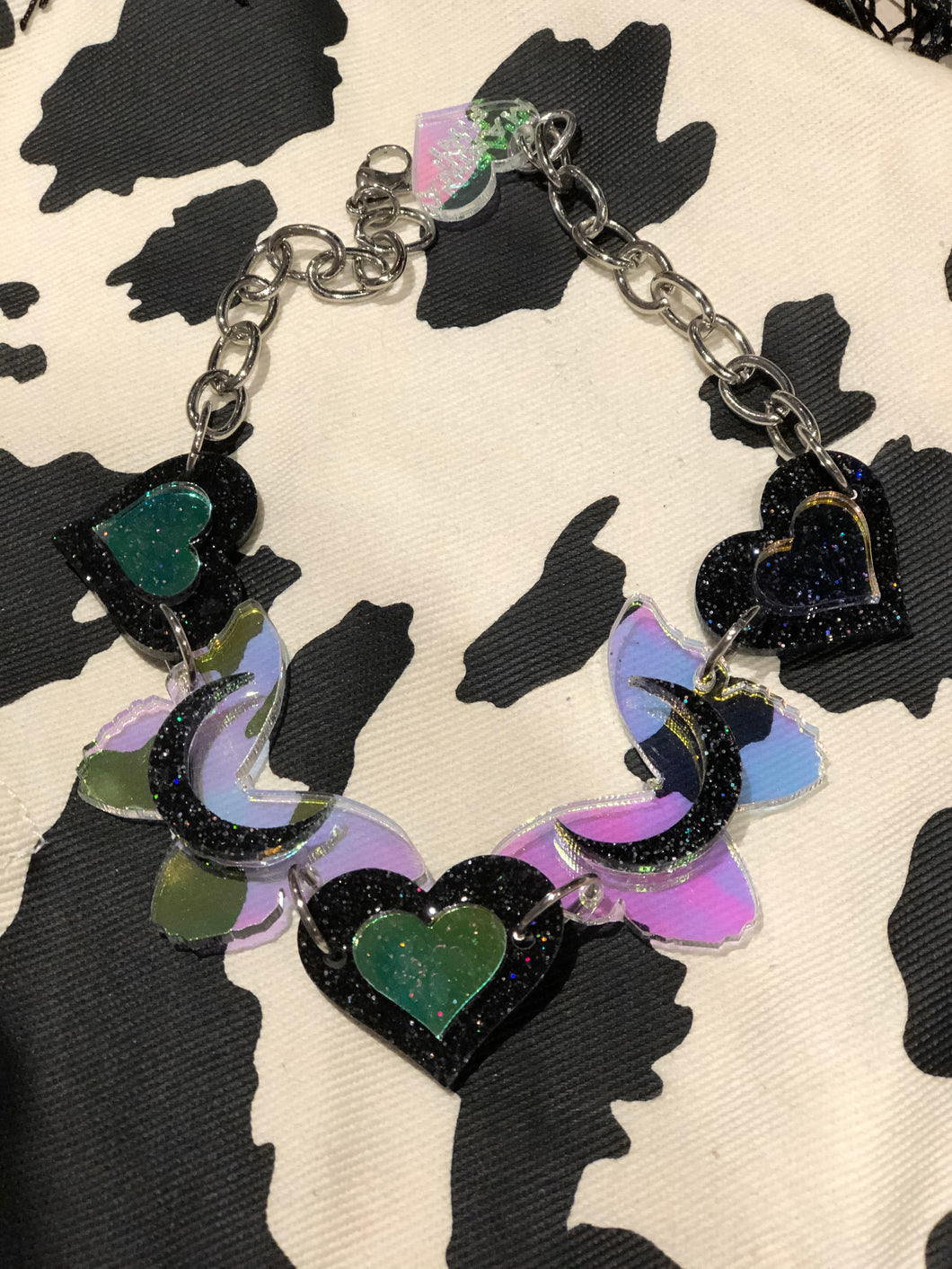 Black Glitter and Holo Heart Butterfly Choker by Marina Fini | Necklaces - 80s 90s Retro Vintage Clothing | Spark Pretty
