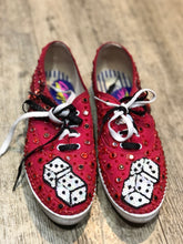 Vintage 80s Sequin Bedazzled Lace Up Dice Sneakers Size 9