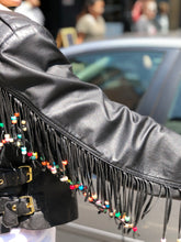 Vintage 80s Leather Fringe and Beaded Moto Jacket | Jackets - 80s 90s Retro Vintage Clothing | Spark Pretty