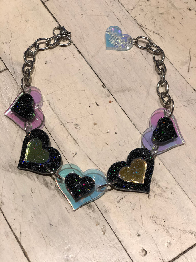 Black Heart with Holo and Glitter Choker by Marina Fini