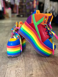 Rainbow Pride Platform Sneakers by YRU Size 12 | Shoes - 80s 90s Retro Vintage Clothing | Spark Pretty