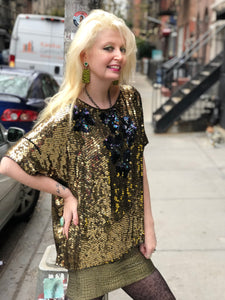 Vintage 80s Gold and Blue Sequin Blouse