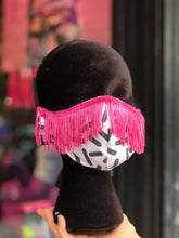 Custom Made Geometric Print with Pink Fringe Face Mask | Mask - 80s 90s Retro Vintage Clothing | Spark Pretty