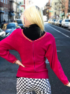 Vintage 80s Pink Bedazzled Gem Sweater | Sweaters - 80s 90s Retro Vintage Clothing | Spark Pretty