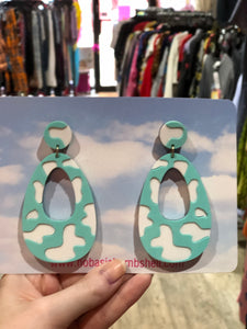 Mint Pastel Cow Earrings by No Basic Bombshell | Earrings - 80s 90s Retro Vintage Clothing | Spark Pretty