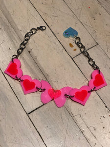 Hot Pink and Red Hearts and Butterfly Choker by Marina Fini