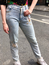 Vintage 80s Acid Wash Distressed and Studded Jeans