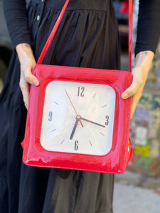 Vintage 90s Red Clock Purse