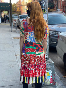 Vintage Patchwork 90's Rayon Peasant Skirt Dress