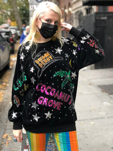 Vintage 80s Black Velour Sequin Coconut Grove Pullover