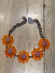 Neon Orange with Pastel Pink Flower Choker by Marina Fini