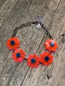 Neon Orange Blue Sparkle Flower Choker by Marina Fini | Necklaces - 80s 90s Retro Vintage Clothing | Spark Pretty