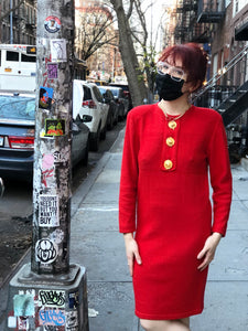 Vintage 80s Red Knit Decorative Button Tunic Dress