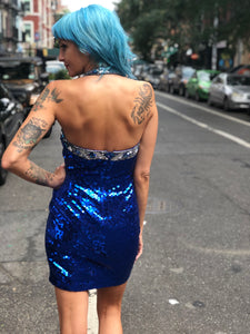 Vintage 90s Blue Sequin Halter Mini Dress