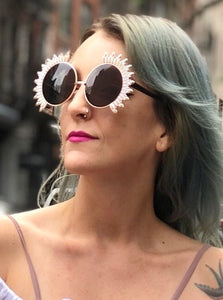 Round Silver Sunburst Sunglasses | Sunglasses - 80s 90s Retro Vintage Clothing | Spark Pretty
