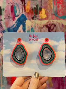 Multi Colored Geodes Earrings by No Basic Bombshell