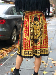 Vintage 90s Pleated Status Print Skirt