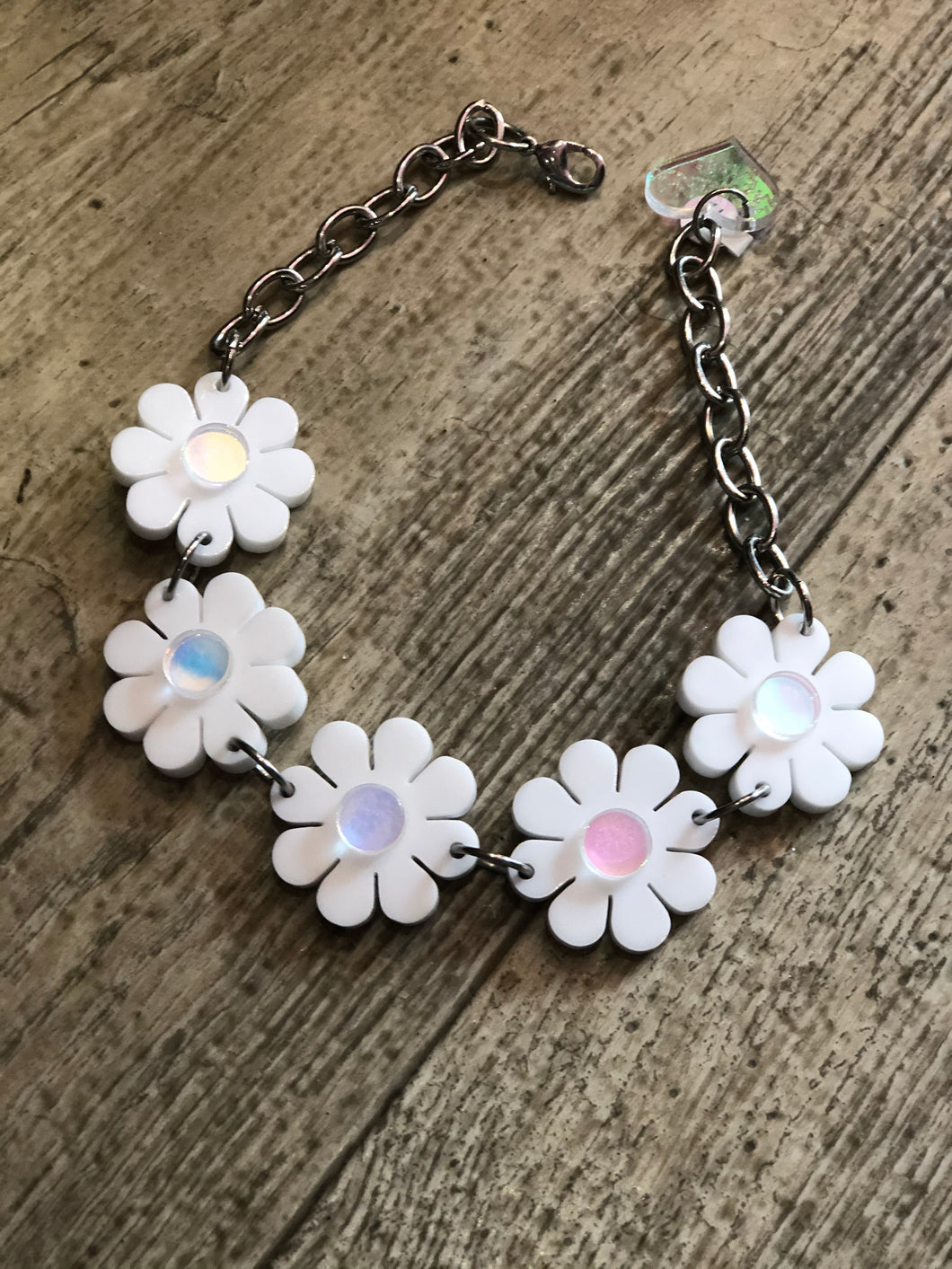 White Holo Flower Power Choker by Marina Fini | Necklaces - 80s 90s Retro Vintage Clothing | Spark Pretty
