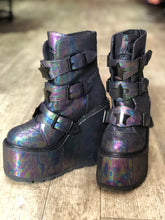 Iridescent Shiny Star Buckle Platform Boots by YRU