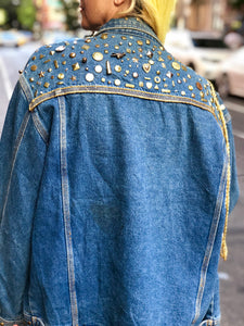 Vintage 80s Studded and Bedazzled Jean Jacket - Spark Pretty