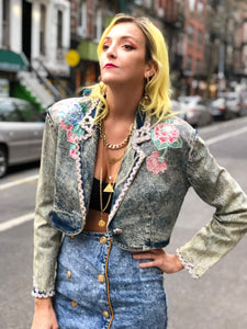 Vintage 80s bedazzled cropped Acid Wash Jean Jacket - Spark Pretty