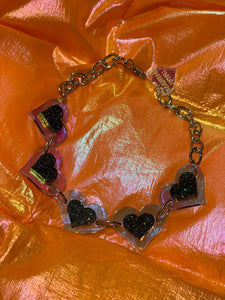 Black and Silver Glitter Hearts Choker by Marina Fini