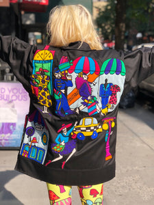 Vintage 80s Colorful Silk Shopping Patchwork Avant Garde Oversized Kimono Jacket | Jackets - 80s 90s Retro Vintage Clothing | Spark Pretty
