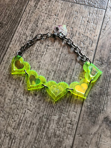 Neon Green Heart Choker by Marina Fini | Necklaces - 80s 90s Retro Vintage Clothing | Spark Pretty