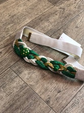 Vintage 80s Woven Green and White Braided Beaded Belt | Belts - 80s 90s Retro Vintage Clothing | Spark Pretty