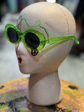 Green Oval Grunge Sunglasses