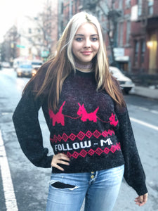 Vintage 80s Follow Me Fuzzy Sweater - Spark Pretty