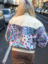 Vintage 80s White Leather Patchwork Bomber Jacket