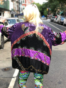 Vintage 80s Purple Sequin Bolero Jacket | Jackets - 80s 90s Retro Vintage Clothing | Spark Pretty